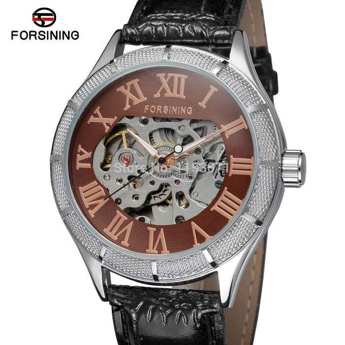 Forsining factory New Automatic skeleton men watches with black leather strap  gift box