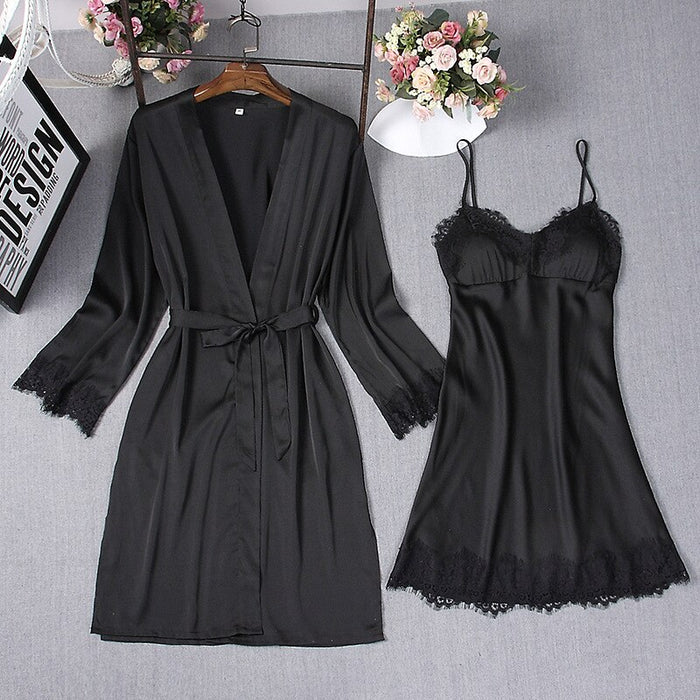 Navy Blue Sexy Sleep Robe Kimono  Sets Womens 2pcs Strap Top Suit Casual Spring