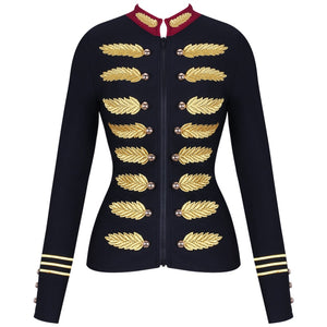 Ocstrade Black Stand Collar Long Sleeve Mini Metal Studded Fashion Bandage Jacket PM0501-Black