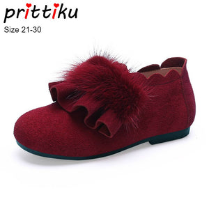Autumn 2019 Girls Princess Casual Flats Baby/Toddler/Little Kid Cow Suede Mink Plush High Loafers Children Fashion Dress Shoes