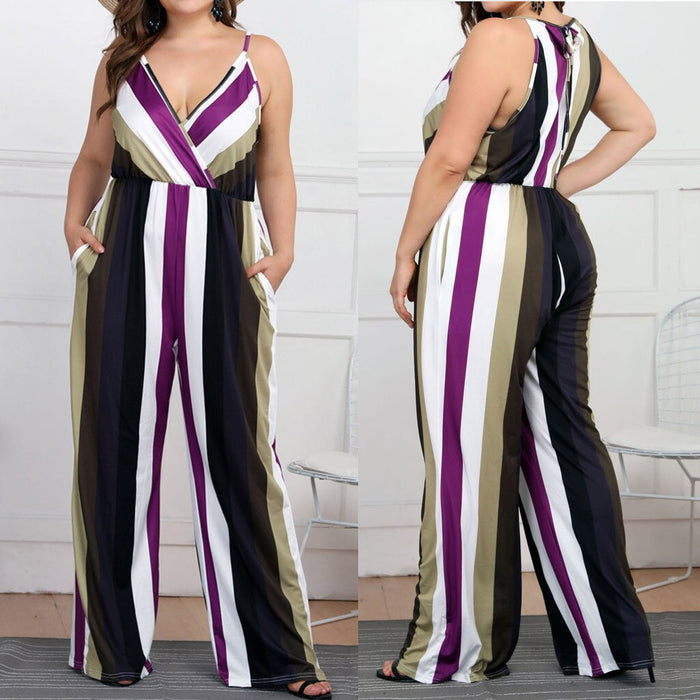 Fashion Womens Jumpsuit Casual Plus size Stripe Print Camis Sleeveless Loose Jumpsuit rompers