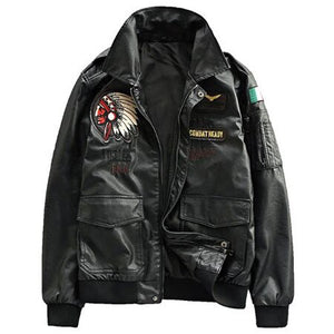 Air Force Pilot Mens Leather Jackets XXXL Plus Indian Embroidery Motorcycle Leather Jacket
