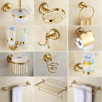 Bathroom Accessories Golden Brass Collection, Towel Ring, Paper Holder, Toilet Brush, Coat Hook, Bath Rack, Soap Dish aset006