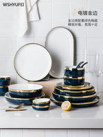 Direct jade exquisite series European gold striped ink ceramic tableware home decoration set dish kimchi bowl steak plate
