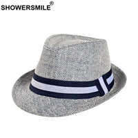 SHOWERSMILE Grey Jazz Hat Men Classic Patchwork Fedora Hats Male British Style Brand 2019 Summer Outdoor Bucket Hats And Caps