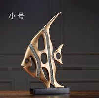 Living Room Decoration Wine Cabinet Ornaments Display Furnishings Presents Abstract Home Decor Sea Fish Statue Figurine Golden