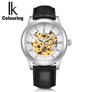 IK Colouring Skeleton Men Watches Luxury Business Casual Automatic Mechanical Wrist Watch Brown Genious Leather Strap