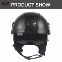 WOSAWE Motorcycle Helmet Retro Personality Removable inner liner Moto Half-helmet Summer Open Face Motocross PU Leather Helmet
