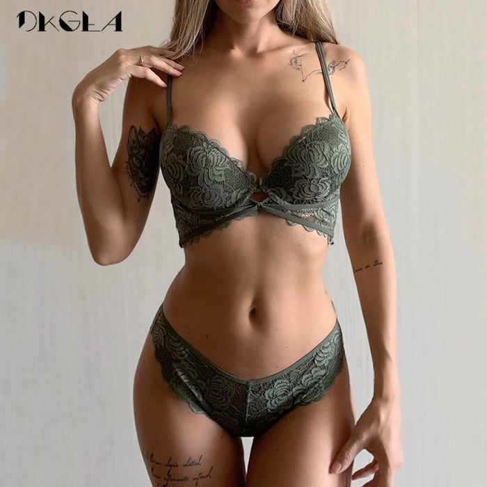 New Fashion ArmyGreen Bra Set Push Up Brassiere Cotton Thick Gather Bras Women Lingerie