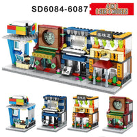 4 In 1 Mini Street Building Blocks City Shop Chinese Architecture Model Series Kids Creativity