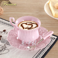 Elegant Pink Coffee Cup Saucer Spoon Set Europe Princess Ceramic Tea cup 180ml