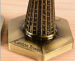 Vintage Canton Tower Desk Stand Bronze Moscot Metal Tower Building Statue Decorartive Craft Figurine Home decoration accessories