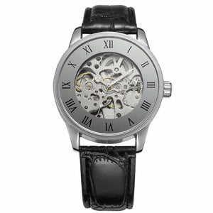 Retro Design Roman Number Display Silver Tone Movement Skeleton Inside Skeleton Steampunk Men Watch Automatic Mechanical Watch