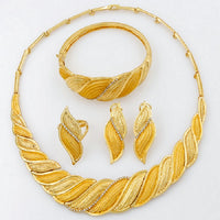 Dubai African Jewelry Sets Crystal Gold Necklace Set Yellow Light Golden Nigerian Ethiopian