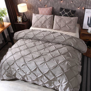 2/3pcs Luxury Duvet Cover Set Pinch Pleat White/Black/Grey/Red/Blue Bedding Sets Twin/Full/Queen/King Size (No Filling