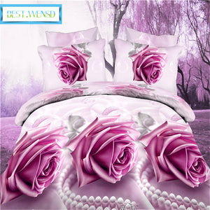 BEST.WENSD Drop Shipping OEM 3/4pcs-sets bedding set Superfine fiber 200*230cm bed duvet set bed linen pillow cases rose bedding