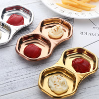 Butter Dish Stainless steel Taste Plate Double case mini Dish Small Seasoning Plate mini tableware Small Cream Plate