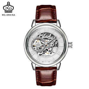 ORKINA Male Mechanical Hand-wind Skeleton Wristwatch Luminous Hands Watch for Men