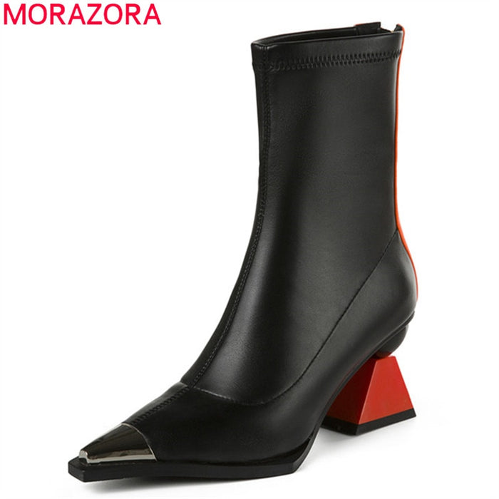MORAZORA 2019 top quality ankle boots for women mixed color high heel boots pointed toe genuine leather party dress shoes woman