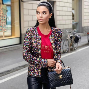 2019 Luxury Long Sleeve Pearl Sequined Jacket Sexy evening Party Bodycon wholesale womens clothing autumn spring Winter