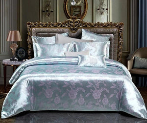 Liv-Esthete Euro Jacquard Flower Luxury Bedding Set Double Adult Bedspread Flat Sheet Decorative Bed Linen Set Home Textile