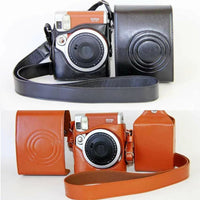 PU Leather Camera Case Cover Bag  For Fuji Fujifilm Instax Mini 90 Digital Camera Bag Pouch Protector + Shoulder Strap
