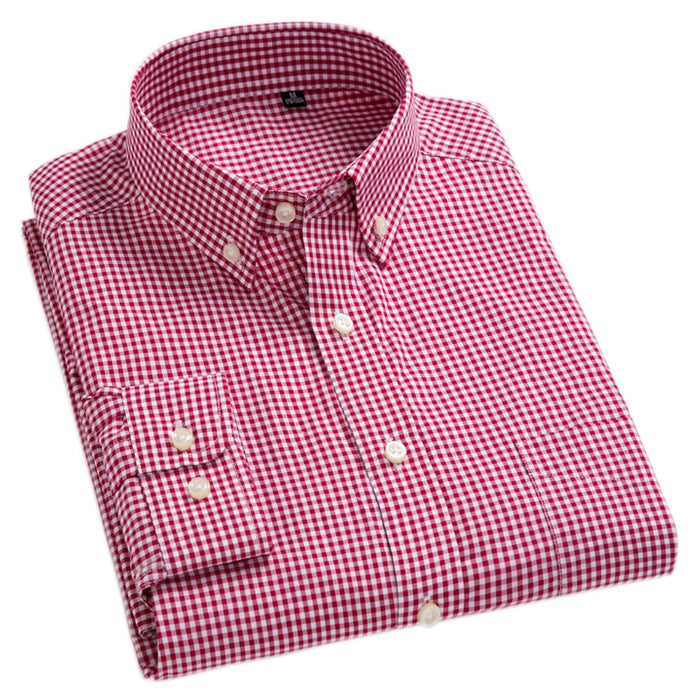 New Arrival Men's Oxford Wash and Wear Plaid Shirts 100% Cotton Casual Shirts High Quality