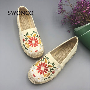 SWONCO Women's Flats Fisherman Shoe 2018 Spring Hemp Fashion Embroidery Ladies Shoes Casual Shoes Women Breathable Canvas Shoe
