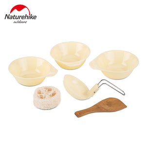 Naturehike Outdoor Tableware Camping Hiking Cookware Set 4 in 1 Picnic For 2-3 Person NH15T203-G