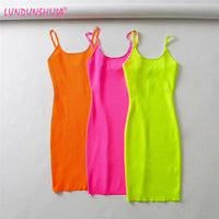 LUNDUNSHIJIA Fluorescence Stretch Knitting Mini Dress Women Sexy Straps Slim Fit Party Dresses Vestidos Femme