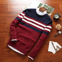 DIMUSI Autumn Men's Pullover Sweaters Mens Turtleneck Casual Sweater Male Striped Slim Fit Knitted Pullovers Brand Clothing 4XL