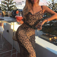 MissyChilli Leopard v-neck bodycon long dress Women strap summer sexy causal dress Elegant female club party beach maxi dresses