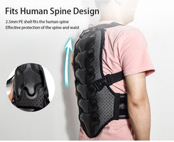 WOSAWE Sports Spine Back Support Off Shoulder EVA Pad Belt Snowboard Ski Motorcycle Motocross Protective Gear Back Protector