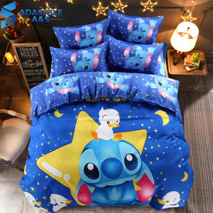Disney Bedding Set Blue Lilo & Stitch Pattern Bedclothes Sheet Pillowcase Cartoon Boys Twin Queen Duvet Cover Set