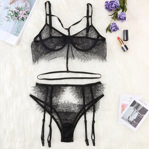 Women Tights Sexy Lingerie bra and panty set for plus size Lace Hollow Openwork Sexy Perspective Three-piece Set