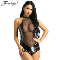 Sexy Bodycon Bodysuits PVC Leather Mesh Splice Costume Women Latex Catsuit Pole Dance Clothes Lady Nightclub Bodysuit