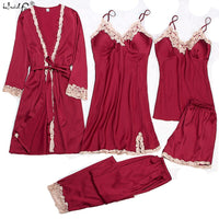 Satin Sleepwear Female with Chest Pads Sexy Women Pajamas Lace Silk Sleep Lounge 5 Pieces Sets Ladies Indoor Clothing pajamas