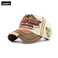 JAMONT Hot Retro Washed Baseball Cap Fitted Cap Snapback Hat For Men Bone Women Gorras Casual Casquette Letter Black Cap