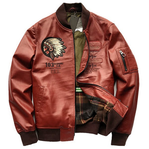 Japanese Version Indian Motorcycle Man Mens Sheepskin Leather Jacket and Coats Indian Avatar Pattern Embroidery Streetwear 4XL