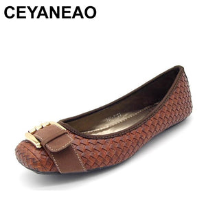 CEYANEAO  2019 Spring and Autumn Women's Loafers Flats Buckle Knitted Women Flat Heel Shoes Boat Shoes Soft bottom Casual Shoe