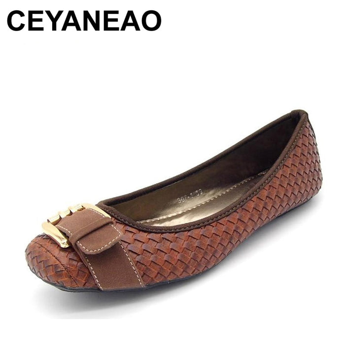 CEYANEAO  2019 Spring and Autumn Women's Loafers Flats Buckle Knitted Women Flat Heel