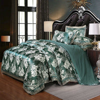 Liv-Esthete European Luxury Green Satin Jacquard Bedding Set Lace Side Duvet Cover Flat Sheet Queen King Bed Linen For Adult