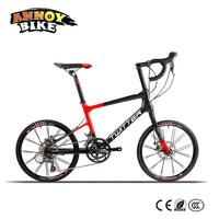 "Light 8.6kg 20"" Road Bike 16 speed 42cm Carbon Fiber Frame BMX Bicycle Twitter With Shimano Speed System & Mechanical Disc Brake"
