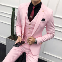 3PC Suit Men Brand New Slim Fit Business Formal Wear Tuxedo High Quality Wedding Dress Mens Suits Casual Costume Homme 2XL Pink