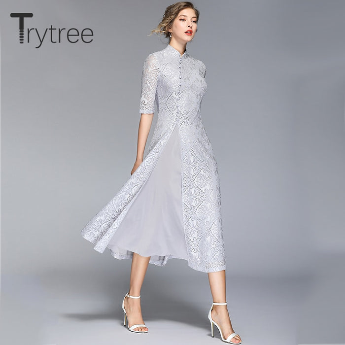 Trytree Summer Autumn Chinese Style Solid Dress Mandarin Collar Button Lace women
