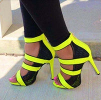 Fashion Neon Straps Women Sexy Cut Out Sandals Open Toe Ladies Mesh High Heels Summer Hot Stiletto Zipper Back Dress Shoes