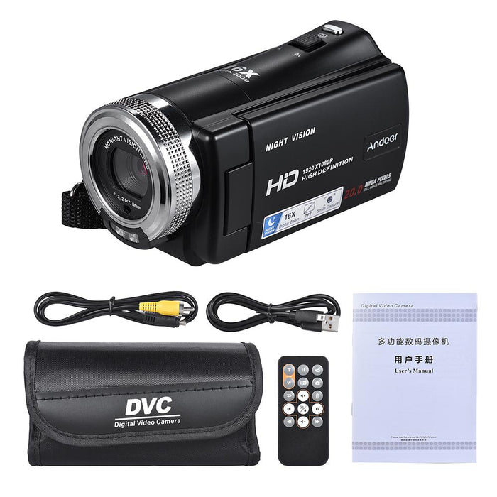 1080P Video Camera Full HD 16X Digital Zoom Recording Camcorder Anti-Shake w/3.0 Inch