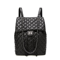 Simple Style Backpack Women Leather Backpacks For Teenage Girls School Bags Fashion Vintage Black Diamond Lattice Shoulder Bag