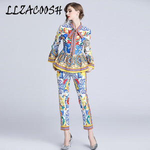 2018 Fashion Runway Pants Suit Sets Women's Flare Sleeve Bow Collar Print Blouses and Casual Pants Two Pieces Set