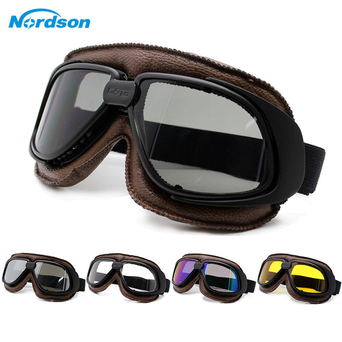 Nordson Motorcycle Goggles Helmet Motorcycle Goggle Glass Vintage Pilot Biker Leather Moto Bike ATV Goggle
